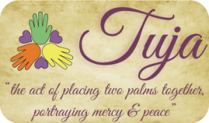 "Tuja- ""the act of placing two palms together. Portraying Mercy & Peace""."