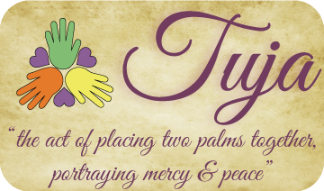 """Tuja- """"the act of placing two palms together. Portraying Mercy & Peace""""."""