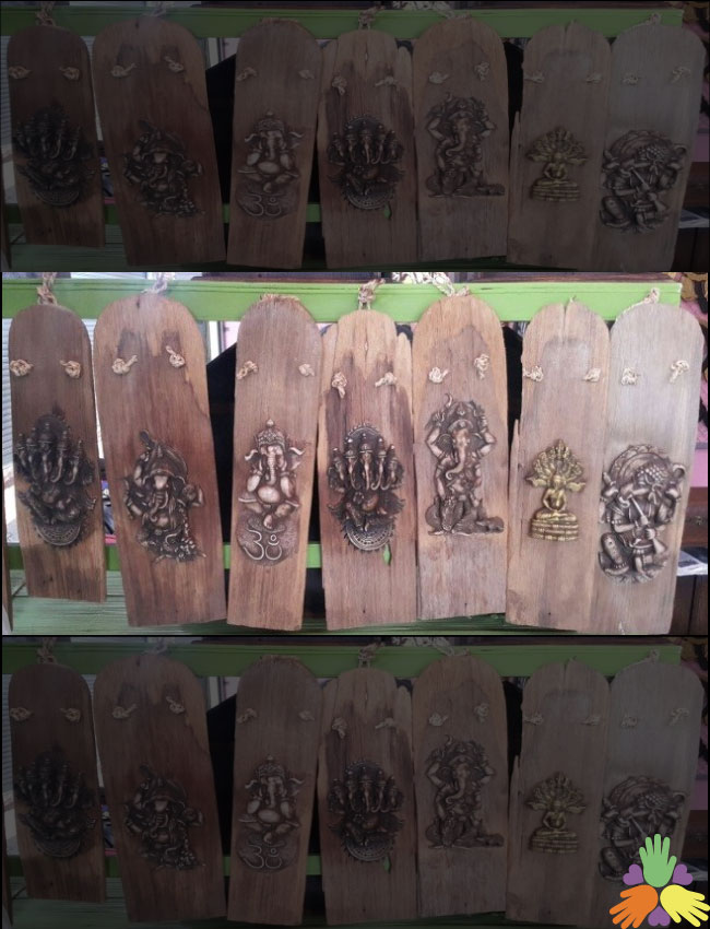 Buddha & Ganesha on Wood Plank-Key Hanger
