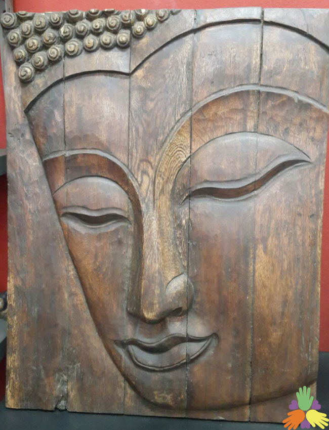 Buddha Head on Wooden Canvas